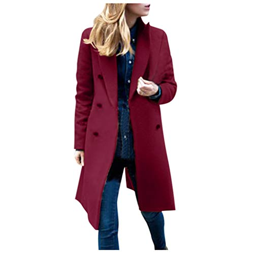 Eaktool Women Swing Double Breasted Wool Pea Coat with Belt Buckle Spring Mid-Long Long Sleeve Lapel Dresses Outwear(Wine Red,XXXX-Large)