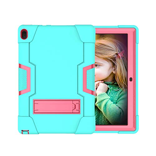 Koolbei Case for Lenovo Tab E10 (TB-X104F), Heavy-Duty Drop-Proof and Shock-Resistant Rugged Hybrid case(with Built-in Stand), for Lenovo Tablet 2018 Tab E 10 10.1 Inch Case (Aqua/Rose red)
