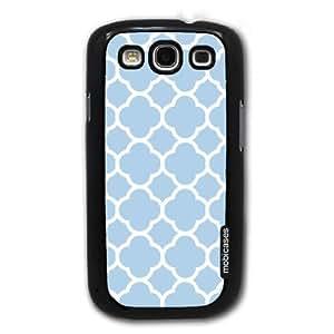 Quatrefoil Pattern - Baby Blue - Protective Designer BLACK Case - Fits Samsung Galaxy S3 SIII i9300
