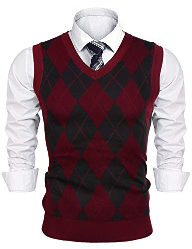 iClosam Mens Sweater Vest Casual V-Neck Slim Fit Knitted Pullover Knitwear Wine Red