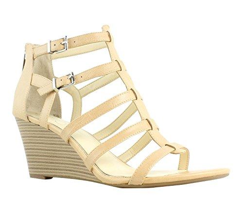 Jessica Simpson Women's Shalon Wedge Sandal, Buff, 9 Medium US