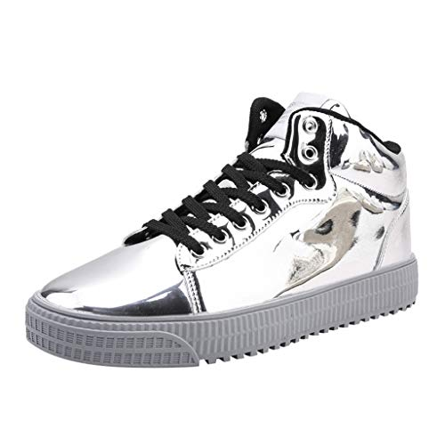 Goddessvan Mens Couples Colorful Mirror Trend Sneakers Nightclubs Sequins High-Top Casual Shoes Silver