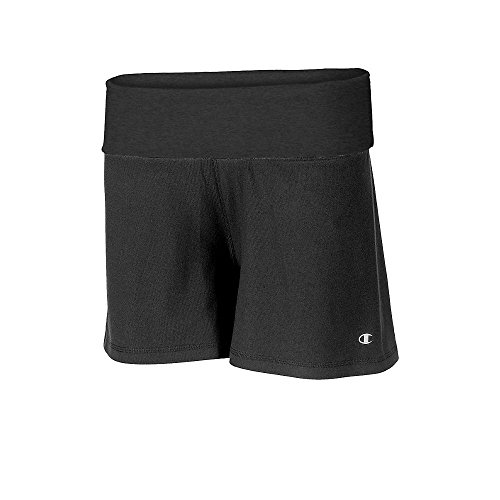 Champion Power Cotton Women's Roll Down Shorts - Small, Black