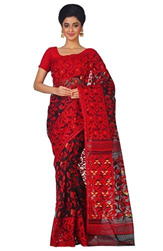 ❥ RLBFashion Women's Cotton Silk Handloom Dhakai Jamdani Saree (Red & Black) Saree 2