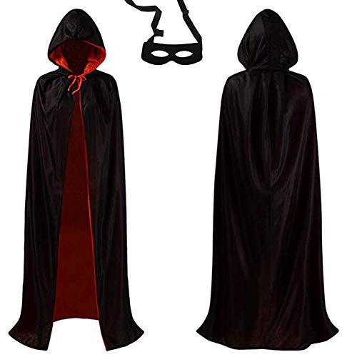 Mofvg Cloak Halloween Hooded Red Black Cape Vampire Masquerade Party Cosplay Costume Velvet Unisex Robe (47