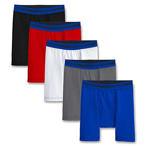 Fruit of the Loom Big Boys' 5 Pack Sport Boxer Brief, Assorted, L -