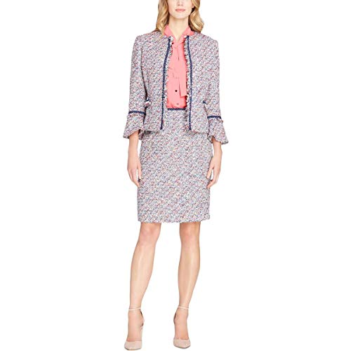 Tahari ASL Womens Petites Fringed Tweed Open-Front Blazer Navy 8P