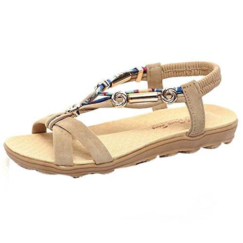 Kingko® Women's Summer Beach Shoes Bohemia Unique Design Style Elastic Flat Sandals Beige Rt19iuh