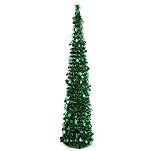 PartyTalk 5ft Pop Up Christmas Tree with Stand, Green Tinsel Collapsible Artificial Christmas Tree for Holiday Christmas Home Decorations 78