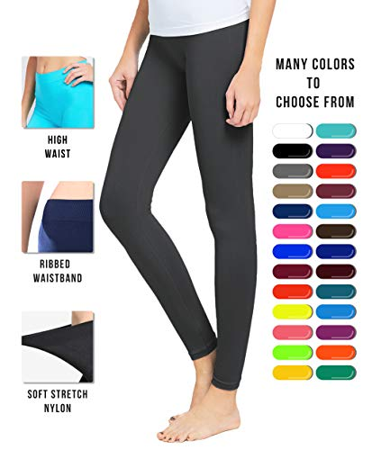 Basic Solid Full Length Footless Tights Leggings Pants - Nylon Premium Quality (Plus Size (Size 14-20), LG07 Charcoal)