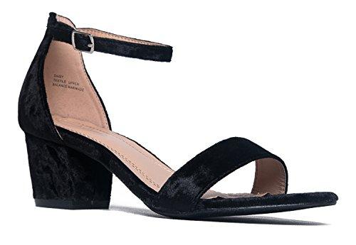 J. Adams Daisy Mid Heel Sandal Black Velvet 7.5 B(M) US ()