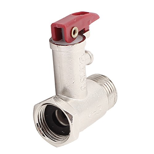 Uxcell a15030900ux0043 Electric Water Heater 1/2BSP 0.9MPa 2-Way SAFETY Pressure Relief Valve, Carbon Steel