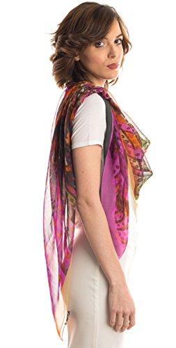 Elizabetta Womens Silk Chiffon Scarf, Extra Large 54'' Watercolor Print, Fuchsia by Elizabetta (Image #7)'