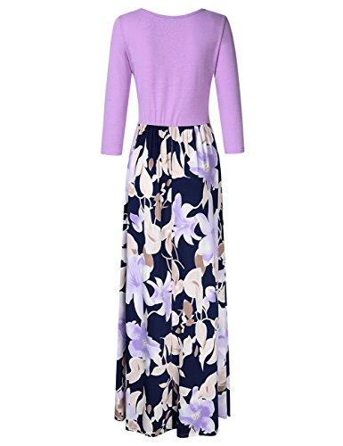GloryStar Long Floral Autumn 4 Maxi Dress Printed Tunic Purple Women's Dress 3 Casual Sleeve Wrap RqxRPT1