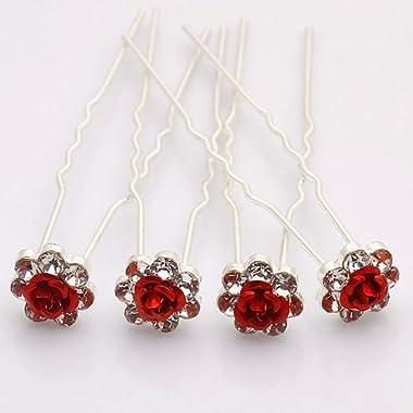 Rbenxia Bridal Wedding Crystal Hair Pins Bridal Prom Clips Pack of 20pcs Red