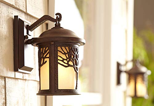 Rustic Outdoor Wall Light Fixture Bronze 9 1/2'' Tree Etched Glass Sconce for Exterior House Deck Patio Porch Lighting - John Timberland by John Timberland (Image #3)