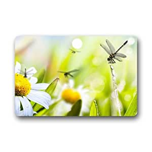 Custom decorative Dragonfly Felpudo para secar mojado pies, Grabing suciedad y polvo