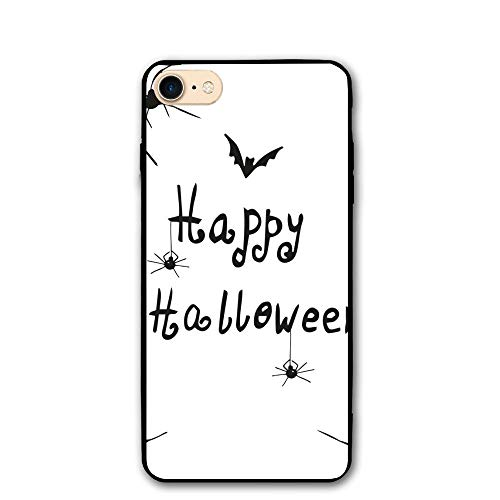 Haixia IPhone 7/8 Phone Case 4.7 Inch Spider Web Happy Halloween Celebration Monochrome Hand Drawn Style Creepy Doodle Artwork Decorative Black White ()