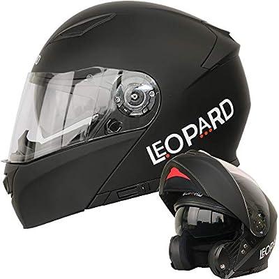 Amazon.es: Leopard LEO-888 Doble Visera Casco Moto Modular ECE 22 ...