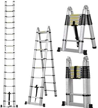 kitechild 3.8 m aluminio – Escalera y escalera telescópica con protección para los dedos con base ampliadas aluminio escalera espalderas Escalera schiebel eiter – Escalera 150 kg: Amazon.es: Bricolaje y herramientas