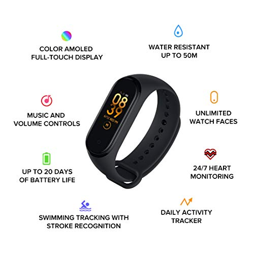 Mi Smart Band 4- India's No.1 Fitness Band, Up-to 20 Days Battery Life, Color AMOLED Full-Touch Screen, Waterproof with…