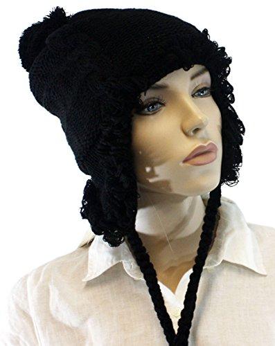Fashion Dimensions Black Spiraled Pom Pom Laced Trapper Hat
