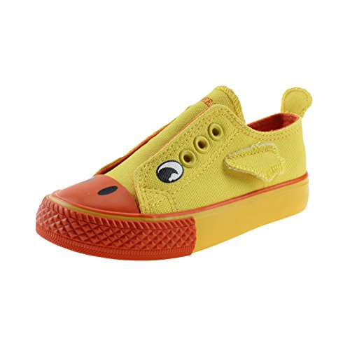 Baby Boy's Girl's Canvas Shoes Slip-on Cartoon Sneakers, Yellow, Size 4.5, Toddler