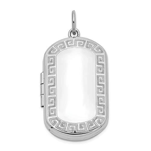 Jewelry Pendants & Charms Lockets Sterling Silver Rhodium-plated Greek Key Border Rectangular Locket