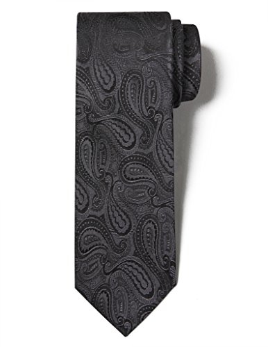 Origin Ties Handmade Silk Tie Men's Classic Paisley Necktie 3.25 for Wedding Party Black