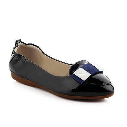 Amoonyfashion Womens Spitse Gesloten Teen Lage Hakken Lakleder Pull-on Pumps-schoenen Zwart