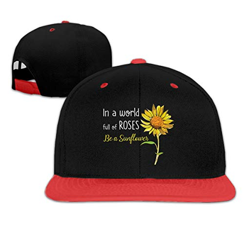 JJHH SHOP in A World Full of Rose Be A Sunflower Children's Boy Girls Contrast Hip Hop Baseball Caps Denim Hats