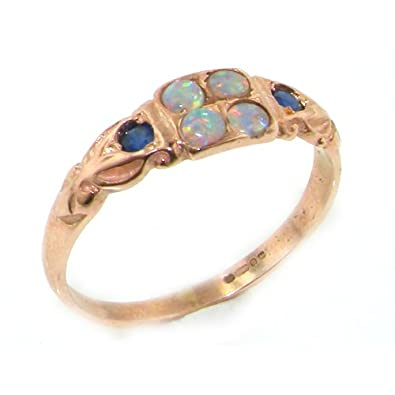 size L 9ct Gold Natural Opal /& Diamond Ladies Eternity Ring