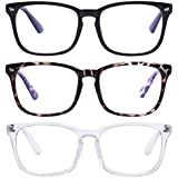 Unisex Blue Light Blocking Glasses Blue Filter Computer Glasses (Anti Eye Eyestrain) Gaming Glasses for Women Man (3pc-Leopard-Black-White)