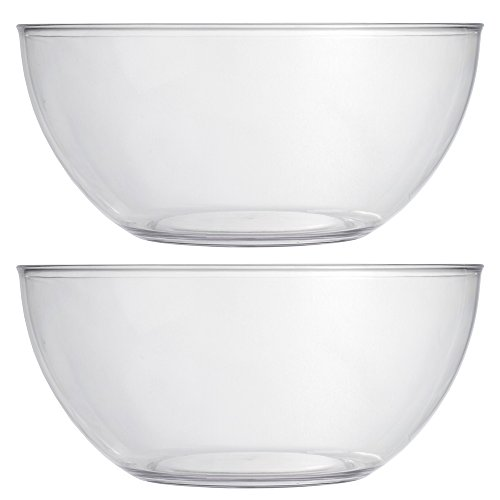 Vista 10-inch Plastic Salad and Snack Bowls | set of 2 Clear -