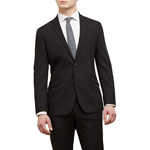 Kenneth Cole REACTION Men's Techni Stretch Slim Fit Suit Separate (Blazer, Pant, and Vest), Black, 38 (Mens Suit Separate Coat)