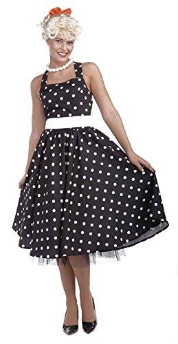 50's Rockabilly Halloween Costumes (Forum Novelties Women's Flirting with The 50's Polka Dot Cutie, Black, Medium/Large)