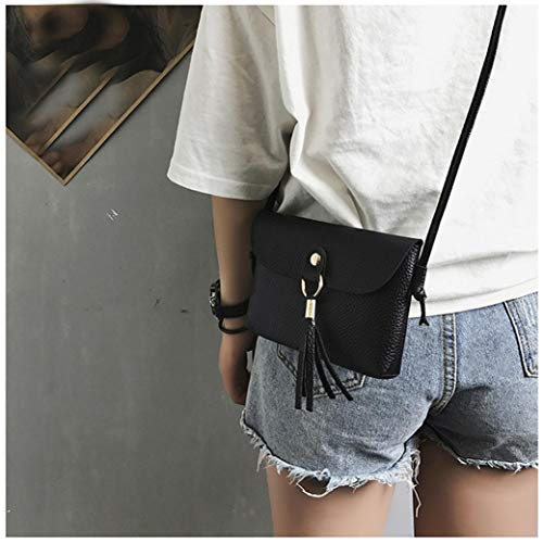 with Bags Shoulder Vintage Mini Small Handbag Fashion Tassel BLACK Bag Messenger Bafaretk Woman's qXvwva