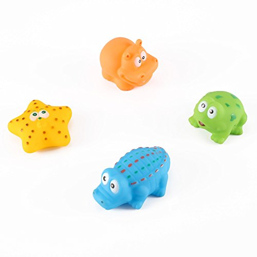 Animal Bath Squirt Toy Set (set of 4, marine life) - Starfish, Hippo, Frog, Alligator by Kinder (Coolest Cartoon Characters)