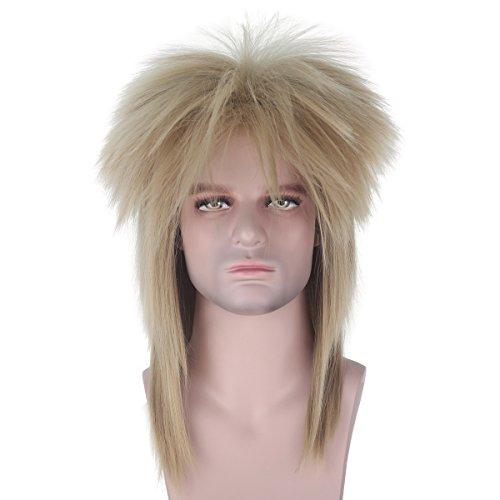 Long Straight 70s 80s Adult Rocker Heavy Metal Wig Blonde Black Color Disco Mullet Hair Cosplay Wig (Blonde)