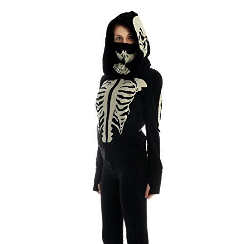 Women's Black Hooded Zipper Sweatshirt Skeleton Skull Mask Hoodie