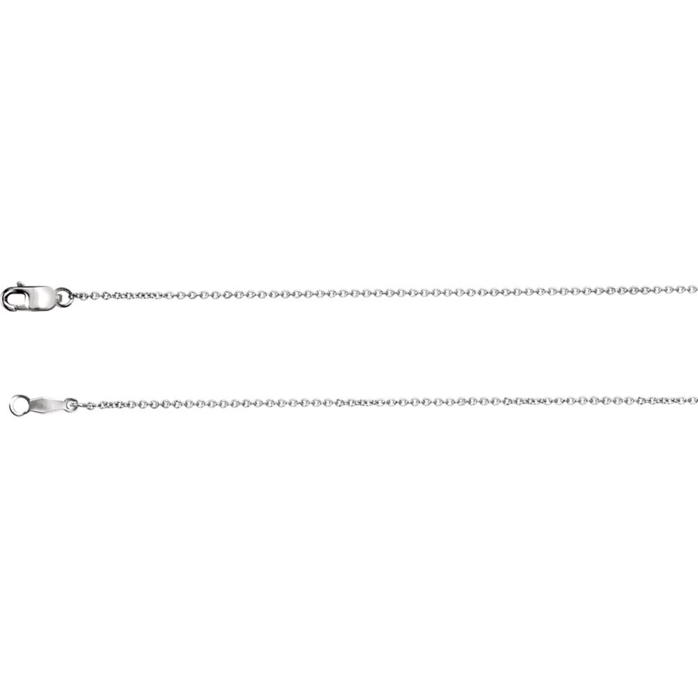 18K White Gold 1mm Solid Cable 16 Chain