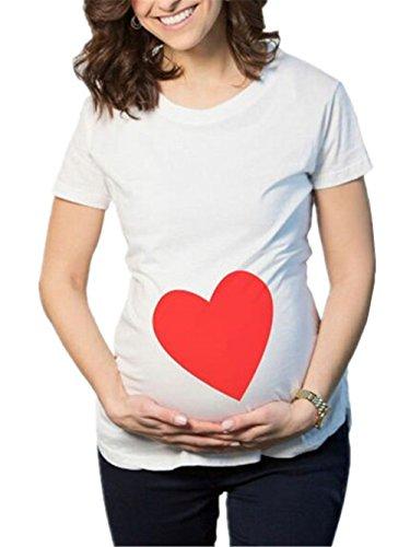 Prenatal Donna Blusa Girocollo Magliette Divertenti Top Shirt Estive Gogofuture Premaman Maglietta Femminili T Maniche Corte Camicie Gravidanza Top Pregnancy White1 Eleganti qzngp