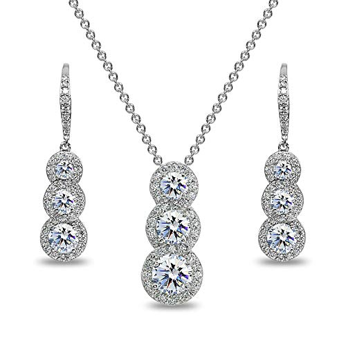 Journey Necklace Set - Sterling Silver Journey Halo 3-Stone Pendant Necklace & Earrings Set for Women Made with Swarovski Zirconia