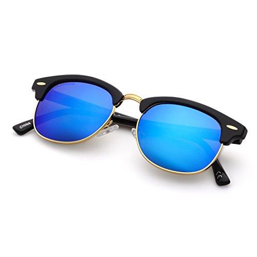 Blue Label Retro Classic Unisex Adult Sunglasses Half Frame Rivet Trim,Fit For Small Face - Sunglasses Shape Face Male