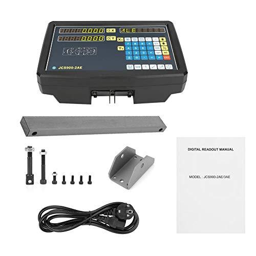 Digitalanzeige Drehmaschinenfräsen, Digitalwaage 2 Axises Digitalanzeige mit Zubehör für Drehmaschinenfräsmaschine EU-Stecker 110-240V
