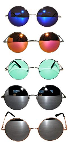 Bulk of 5 Pairs Round Lens Sunglasses Metal Frame Retro Circle Colored Tint Hippie Hipster Vintage ()