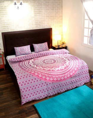 Heyrumbh Handicrafts Tapestry Ombre Mandala Bohemian Reversible Cotton Duvet Cover Indian Handmade Doona Quilt with 2 Pillow Covers (Pink, 82 X 92 Inches)