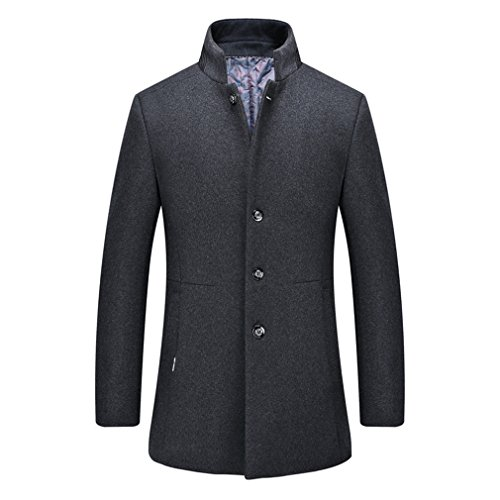 YanCui@ Daily / Going out / Work / Business Fall Winter Men's Stand Collar Woolen Coat,Grey,XXL by YanCui Men's Jackets and Coats