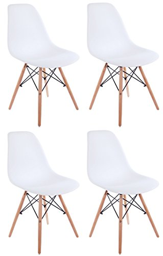 Creation Yusheng Set of 4 Eames Style Dining Chair with Natu