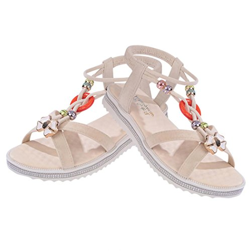 DEESEE(TM) Womens Summer Sandals Shoes Peep-toe Low Shoes Roman Sandals Ladies Flip Flops Beige xDTVIV